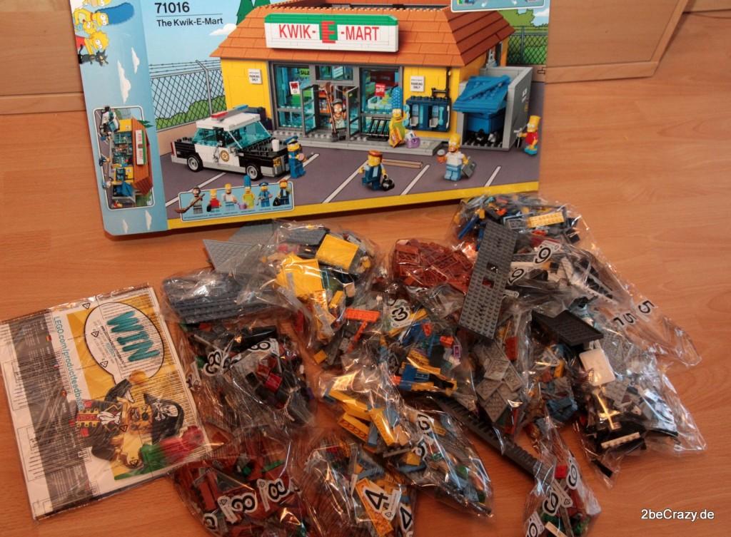 Den Lego Karton ausgepackt und die dutzenden Tüten mit über 2000 Teilen vor mir